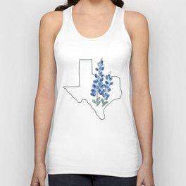 texas // watercolor bluebonnet state flower map Unisex Tank Top