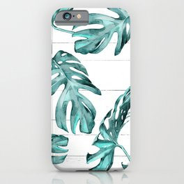 Turquoise Palm Leaves on White Wood iPhone Case