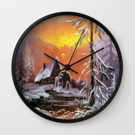 Winter house in the forest Wall Clock