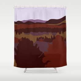Graphic Fall Mountain Landscape with House (Dawn) Shower Curtain