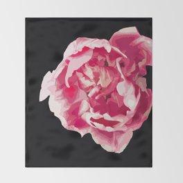 Pink Tulip Flower On A Black Background #decor #society6 #homedecor Throw Blanket