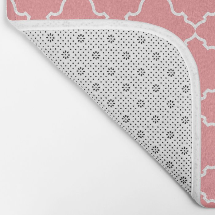 Moroccan White and Coral Bath Mat