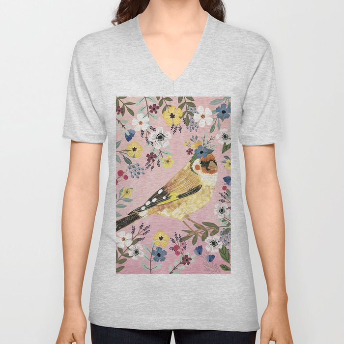 Goldfinch bird with floral crown Unisex V-Neck
