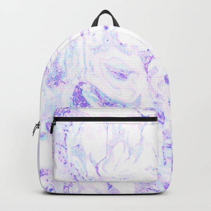 Pastel Marble Purple Blue Glitter Backpack
