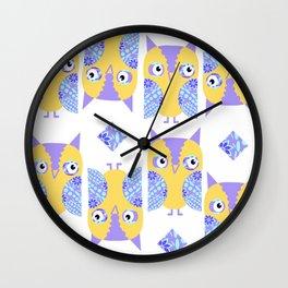 Owls pattern 43u Wall Clock