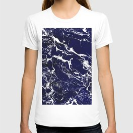 Modern Navy blue watercolor marble pattern T-shirt