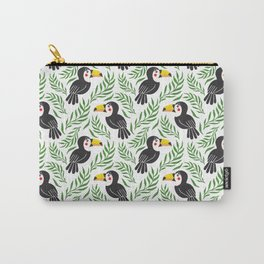 Watercolor green black yellow toucan bird floral Carry-All Pouch