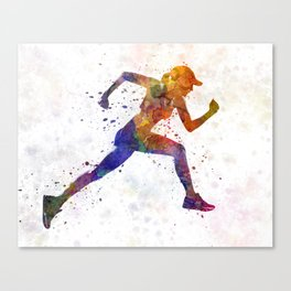 Woman runner jogger running Canvas Print