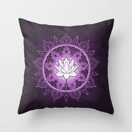 Purple Lotus Flower Mandala Throw Pillow