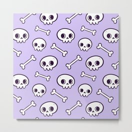 Cute Skulls // Purple Metal Print