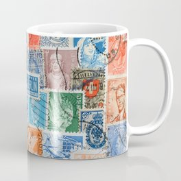 Vintage stamps mail of the different countries. Coffee Mug