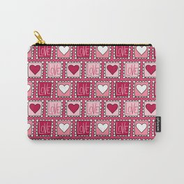 Love and heart stamp pattern in pink Carry-All Pouch
