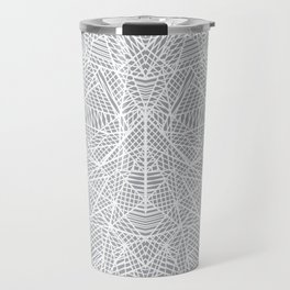 Abstract Lace on Grey Travel Mug