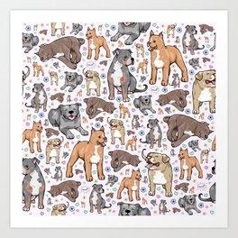 Cute Pitbulls Art Print