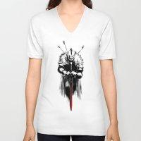 dark souls V-neck T-shirts featuring Dark Souls by Marcos Raya Delgado
