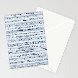 Boho Stripes Indigo Blue Stationery Cards