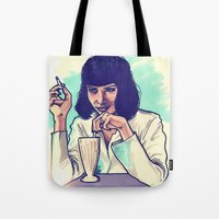 mia wallace Tote Bags featuring Mia Wallace by ARTBYSKINGS