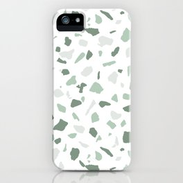 abstract terrazzo stone pattern sage green white iPhone Case