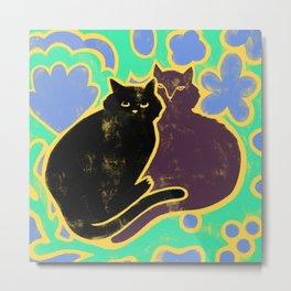 Two Cats Cuddling Metal Print