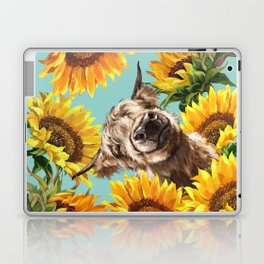 Highland Cow with Sunflowers in Blue Laptop & iPad Skin