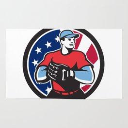 American Baseball Pitcher USA Flag Icon Rug