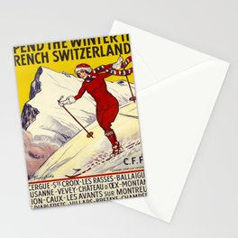 retro retro spend the winter in french switzerland poster Stationery Cards