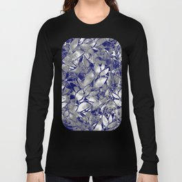 Grunge Art Silver Floral Abstract G169 Long Sleeve T-shirt