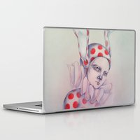 card Laptop & iPad Skins featuring The card of hearts by Zina Nedelcheva