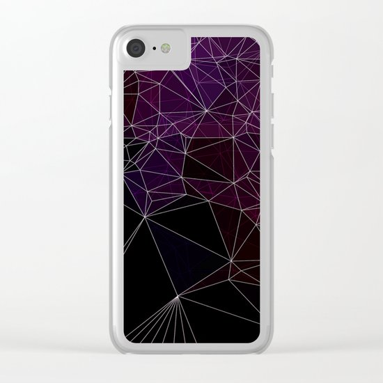 Polygonal purple, black and white Clear iPhone Case