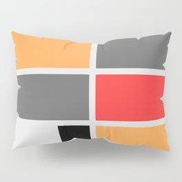 Mondrianista orange red black and gray Pillow Sham