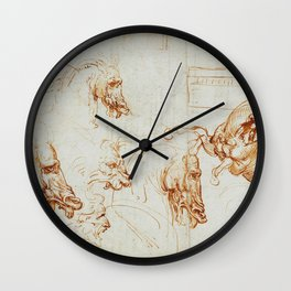 Horse sketches - Leonardo Da Vinci Wall Clock