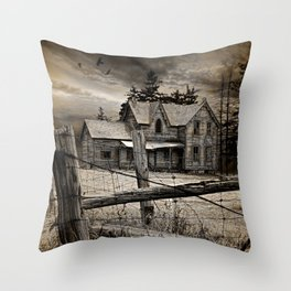 Abandoned Farm House in Ontario Throw Pillow