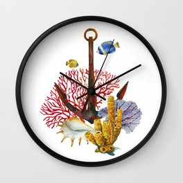 Anchor and corals Wall Clock