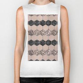 Blush Hexagon Glitter Glam #1 #geometric #decor #art #society6 Biker Tank