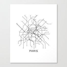Paris Metro Map Subway Map Paris Metro Graphic Design Black And White Canvas Metropolian Art Canvas Print
