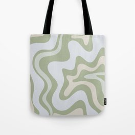 Liquid Swirl Contemporary Abstract Pattern in Light Sage Green Tote Bag