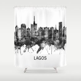 Lagos Nigeria Skyline BW Shower Curtain