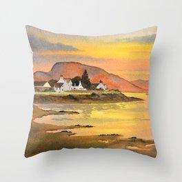 Sunset At Plockton Village Scotland Throw Pillow