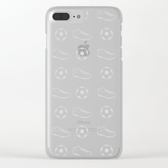 Soccer Pattern Clear iPhone Case