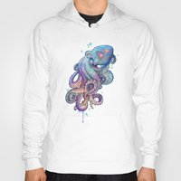 rainbow Hoodies featuring octopus  by Laura Graves