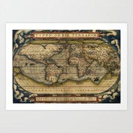 Vintage World Map - Ortelius World Map 1570 Art Print
