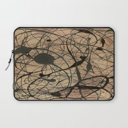 Pollock Inspired Abstract Black On Beige Laptop Sleeve