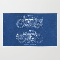 motorcycle Area & Throw Rugs featuring Motorcycle blueprint by marcusmelton