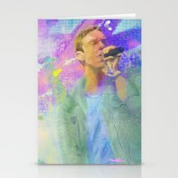coldplay Stationery Cards featuring Chris Martin-Coldplay-Digital Impressionism by Sophie Grace