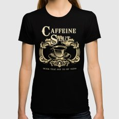 Coffee Homage Black Womens Fitted Tee SMALL