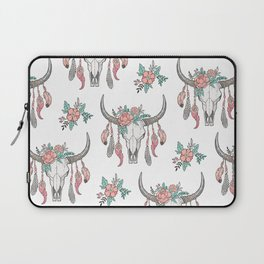Boho Longhorn Cow Skull with Feathers and Peach Flowers Laptop Sleeve