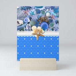 Healing Blue Seashells Sea Life Mini Art Print