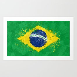 Brazil Flag - Messy Action Painting Art Print