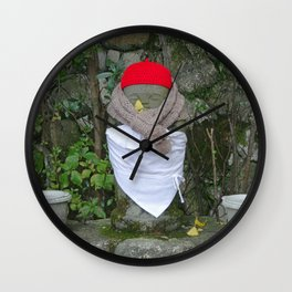 jizo with buckets and bibs Wall Clock