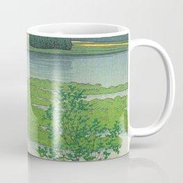 Kawase Hasui Vintage Japanese Woodblock Print Flooded Asian Rice Field Mountain Parallax Landscape Coffee Mug